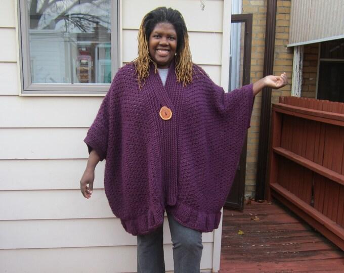 OVERSIZE SWEATER COAT Cardigan/ Poncho, Plus size  Alpaca/Wool Blend Purple Kimono style