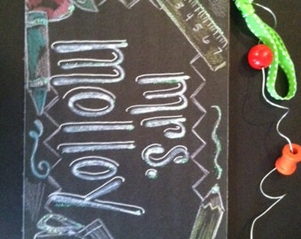 Hand Personalized teacher classroom name sign in new chalkboard designs, teacher tools