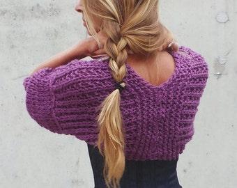 Purple shrug short sleeved alpaca mix shrug