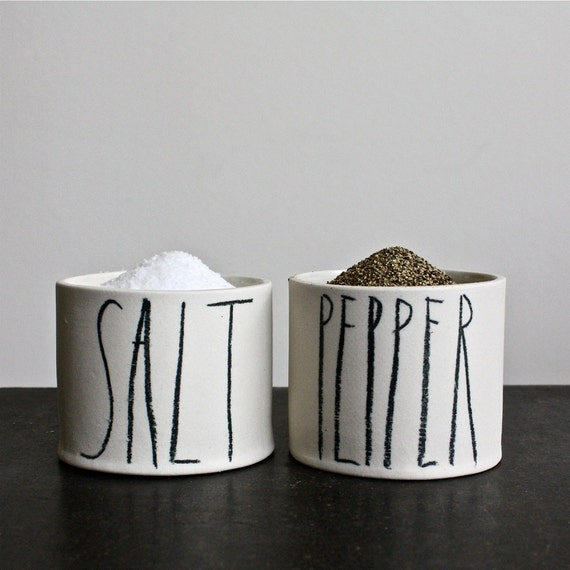 SALT and PEPPER cellars.