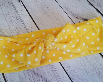Retro Yellow & white polka dot womens headband wrap to match your swimsuit