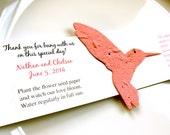 10 Seed Paper Hummingbird Wedding Favors - Plantable Paper Favors - Bird Wedding Favor with Flower Seeds