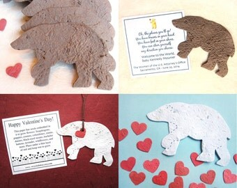 20 Seed Paper Bears - Plantable Paper Flower Seed Polar Bear Favors - Brown Bears - Kids Birthday - Baby Shower Favor - Black Bears