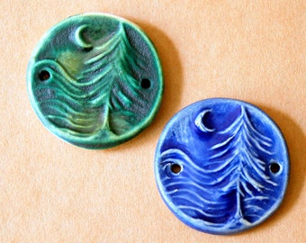 2 Handmade Ceramic Beads - Sweet Set of Moon over Cedars Forest Bracelet Beads