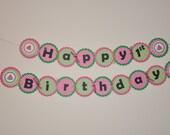 Watermelon Banner. Happy Birthday. Banner. Melon. Pink. Green. Polka Dot. Summer