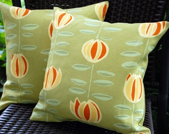 May Flower Sun Porch Pillow / indoor outdoor patio pillow decor / sage green and orange summer pillows / porch swing / Maine Cottage fabric