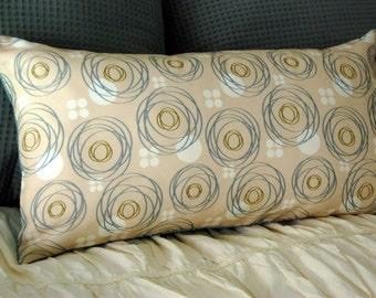 Merlon Modern Cushion / minimalist bedding / bench lumbar pillow / aqua blue and beige pillow / geometric circle / blue modern lumbar pillow