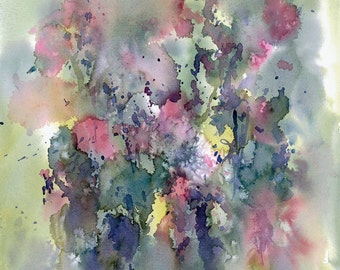 Sweet Peas watercolor print impressionism