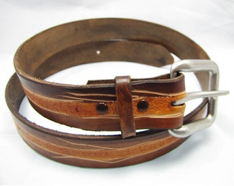 Leather Belt - Tree Wire -  Hand Tooled