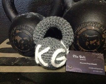 Mini Kettlebell Crocheted fitness Baby Rattle Toy  grey