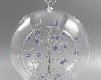 Crystal Christmas Ornament Tanzanite Purple Swarovski Crystal Elements and Silver June Crystal Christmas Ornament