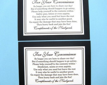 5x7 Flat For Your Convenience Bathroom Basket Printed Sign Package for Wedding Guests - Black and Cream - Men's and Women's Restroom