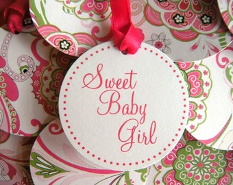 25 Flower Power 2 Inch Striped Circle Sweet Baby Girl Baby Shower Favor Tags in Hot Pink and Lime Green Floral Pattern  READY TO SHIP