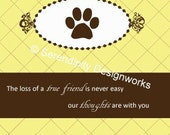 Pet Sympathy Card - paw print