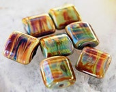7 Raku Nuggets ,  organic handmade glass beads, earthy lampwork beads by Beadfairy Lampwork, SRA