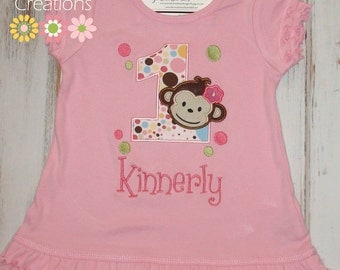 Girl Monkey Birthday Dress, Girl Monkey Dress, Girl Mod Monkey Birthday dress, Girl dress, Monkey birthday outfit, sew cute creations