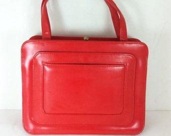 Vintage Cherry red 60's purse Mod handbag rockabilly