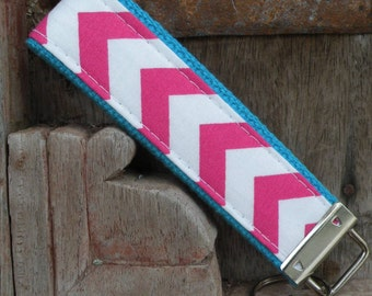 Key Chain-Key Fob-Wristlet- Hot Pink Chevron On Turq-READY TO SHIP