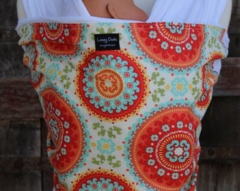 ORGANIC COTTON Baby Wrap Sling Carrier - Orange Medallions On White-Newborn to Toddler Carrie-DvD Included