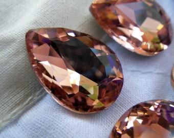 Peach Pink 18x13mm Pear Glass Gems 6 Pcs