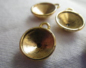 Golden Lightly Antiqued Cast Rivoli 12mm Round Settings One Loop 8 Pcs