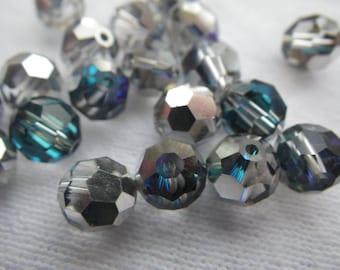 Bermuda Blue Preciosa 7mm Fire Polished Crystal Round Beads 12 Pcs