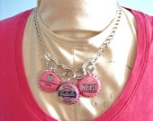 50% off sale Clearance - Pink Buble Gum - Bottle cap Charm Necklace