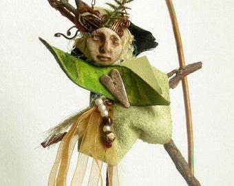 Art Doll Fantasy Muse Spirit and metaphysical sculptural art Fairy Sculptural Art Talisman by FiveMuses
