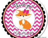 Personalized Labels -- Girl Fox -- Personalized Stickers, Address Labels, Party Favors, Birthday Stickers -- Choice of Size