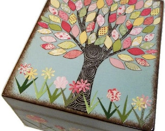 Recipe Box, Decoupaged, Large Double Deep Handcrafted Box,  Storage, Organization, Colorful Tree Box, MADE To ORDER