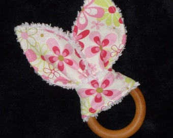 Nearby Floral Rabbit Ears Wooden Teething Ring