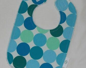 Aqua Disco Dot Fabric and Chenille Bib