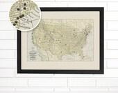 Vintage Map Wall Art, USA Travels, Pushpin Travel Map