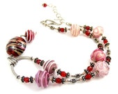 Red Necklace, Pink Necklace, Striped Lampwork Necklace, Valentine Striped Necklace