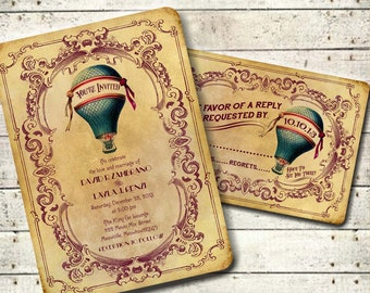OCTAVIA - Victorian Steampunk Hot Air Balloon Wedding Invitation Suite - Teal & Wine Printable DIY Antique Travel Carnival Inspired Wedding