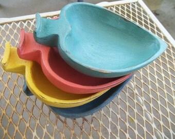 Painted Wood Bowl Set of 4