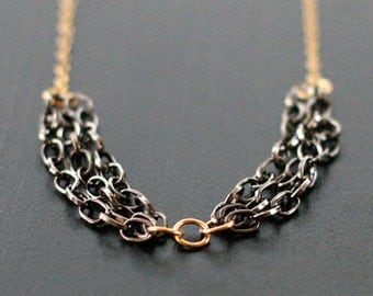 """gold and gunmetal necklace - """"banquet"""" - handmade by elephantine"""