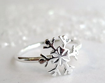 Snowflake ring, Sterling Silver, Winter jewelry, stack ring