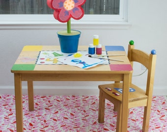 "Splat Mat/Tablecloth ""Pink Lindy Leaf"" - Laminated Cotton BPA  & PVC Free - Choose Your Size below!"