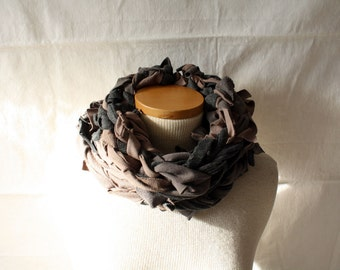 ready to ship // neck scarf / grey and brown / by replicca / one size