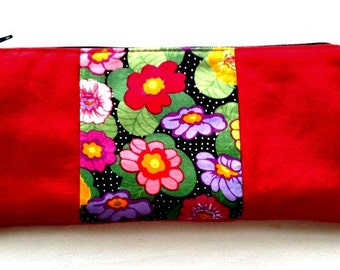 red canvas & floral print sleek pencil case/eyeliner case purse organizer