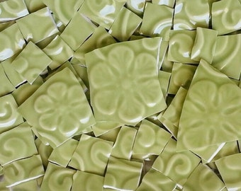 Mosaic Tiles-Green Olive--embossed--100 Tiles