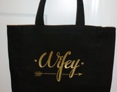 Wifey tote bag with arrows and hearts design Great wedding gift