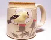 Goldfinch and Thistle Pottery Coffee Mug Limited Series 129 (microwave safe) 12 oz