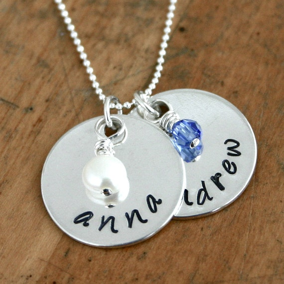 mothers two disc name necklace with birthstone beads by. Black Bedroom Furniture Sets. Home Design Ideas