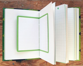 Memento Vivere -  Mixed Paper Journal - 6.5 x 9 inch - Travel Journal, Green Journal