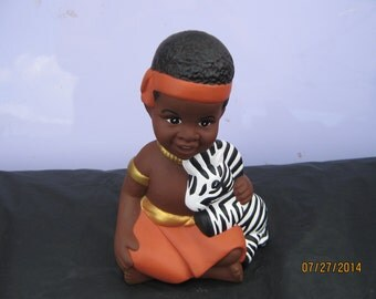 African-American Boy w/Zebra