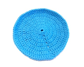 Hot Blue Crocheted Round Dish Cloth