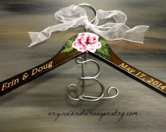 Bridal Hangers - Engraved Names and Date - Hand Painted Flower - Photo Props - Decorative Hanger - Wedding Accessories - Engraved Hanger
