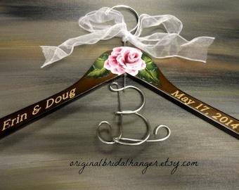 Custom Wedding Dress Hangers Bridal Hangers Elegant Bridal Hanger Brown Wood Hanger Engraved Names and Date Hand Painted Flower Photo Props
